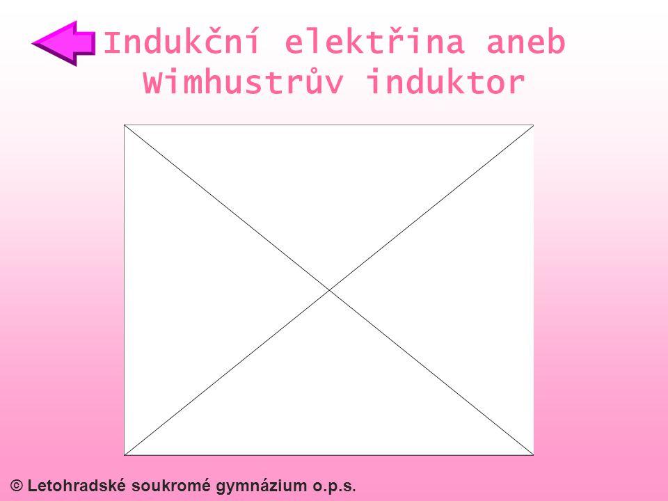 © Letohradské soukromé gymnázium o.p.s. Indukční elektřina aneb Wimhustrův induktor
