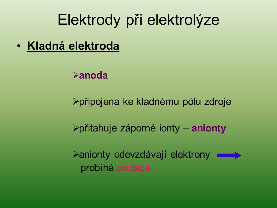 Elektrody při elektrolýze Kladná elektroda  anoda  připojena ke kladnému pólu zdroje  přitahuje záporné ionty – anionty  anionty odevzdávají elekt