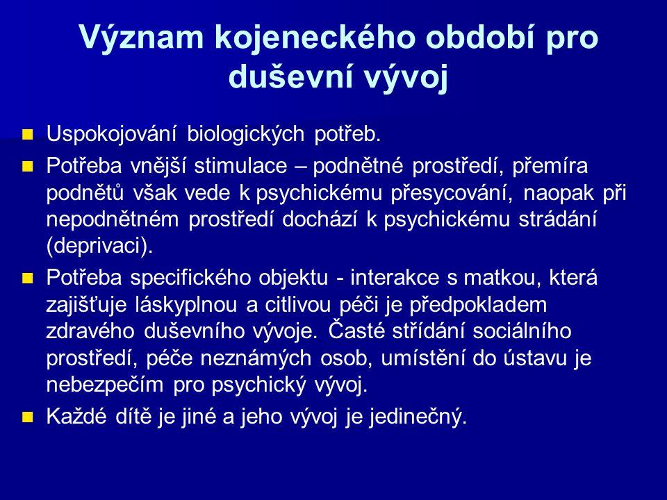 Význam kojeneckého období pro duševní vývoj Uspokojování biologických potřeb.