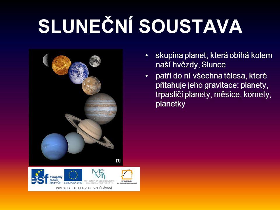 SLUNEČNÍ SOUSTAVA kromě otáčení kolem své osy všechny planety obíhají kolem Slunce ve velkých kruzích čím jsou planety dále od Slunce, tím pomaleji se pohybují mezi planetami jsou obrovské vesmírné prostory [2][2]