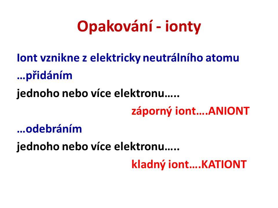 Opakování - ionty Iont vznikne z elektricky neutrálního atomu …přidáním jednoho nebo více elektronu….. záporný iont….ANIONT …odebráním jednoho nebo ví
