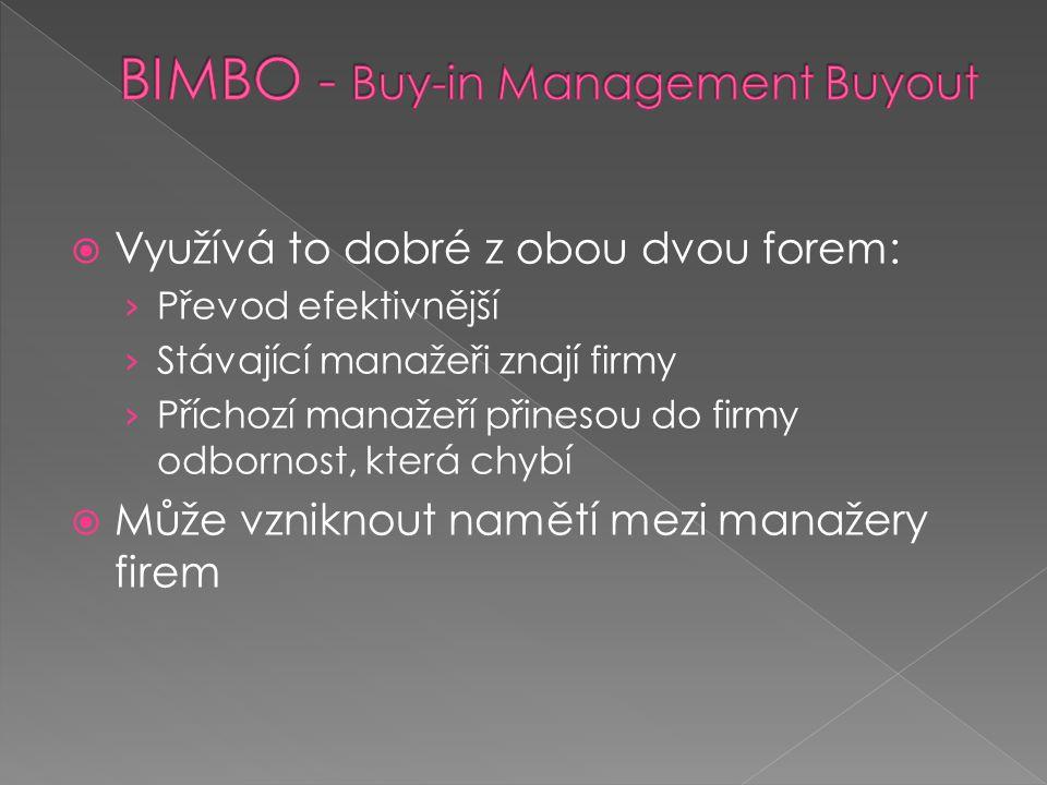  Využívá to dobré z obou dvou forem: › Převod efektivnější › Stávající manažeři znají firmy › Příchozí manažeří přinesou do firmy odbornost, která ch
