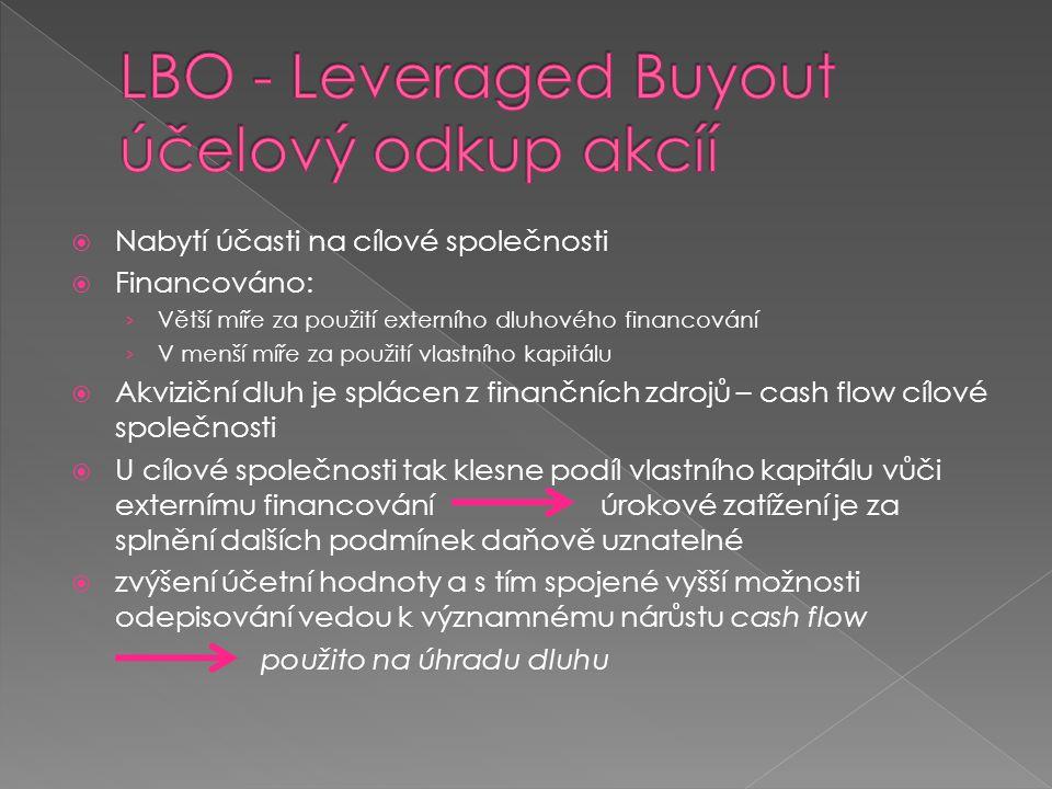  Nabytí účasti na cílové společnosti  Financováno: › Větší míře za použití externího dluhového financování › V menší míře za použití vlastního kapit