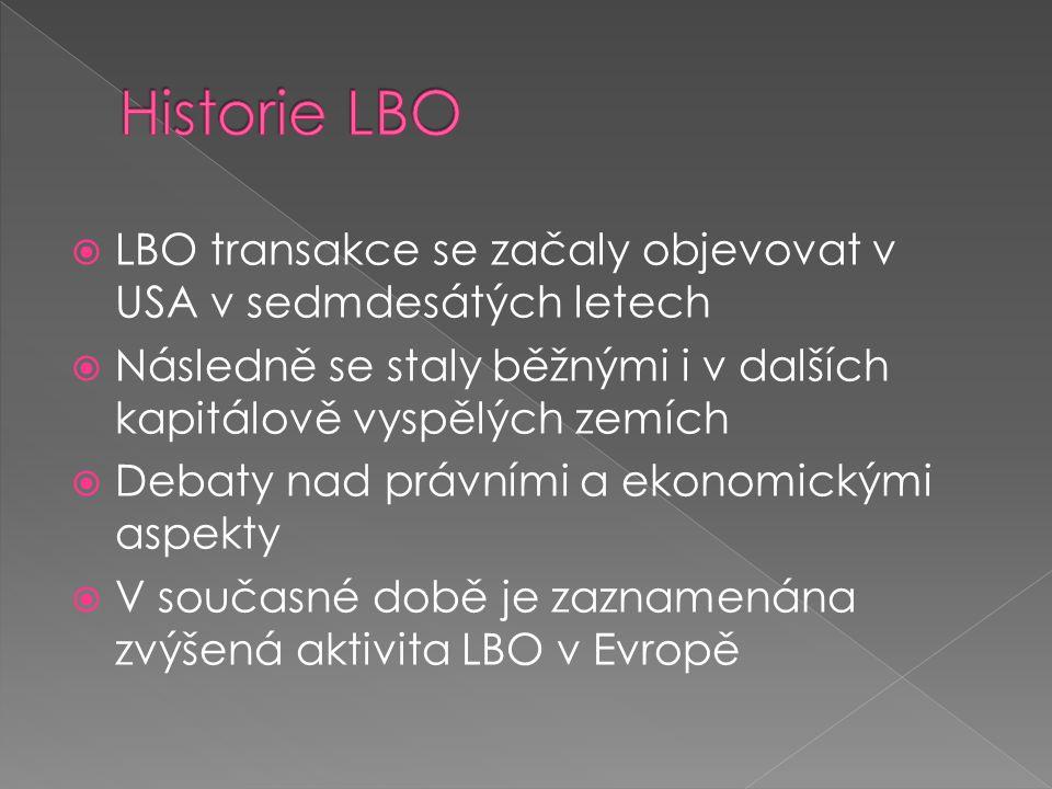  LBO transakce se začaly objevovat v USA v sedmdesátých letech  Následně se staly běžnými i v dalších kapitálově vyspělých zemích  Debaty nad právními a ekonomickými aspekty  V současné době je zaznamenána zvýšená aktivita LBO v Evropě