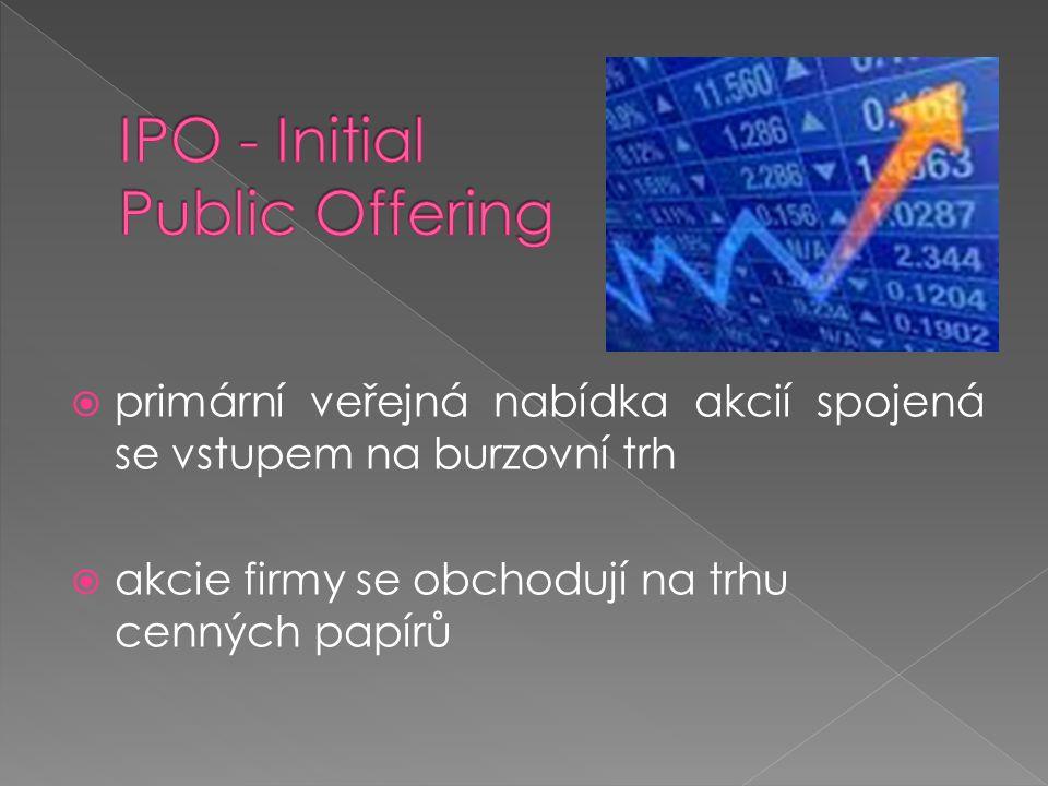 primární veřejná nabídka akcií spojená se vstupem na burzovní trh  akcie firmy se obchodují na trhu cenných papírů