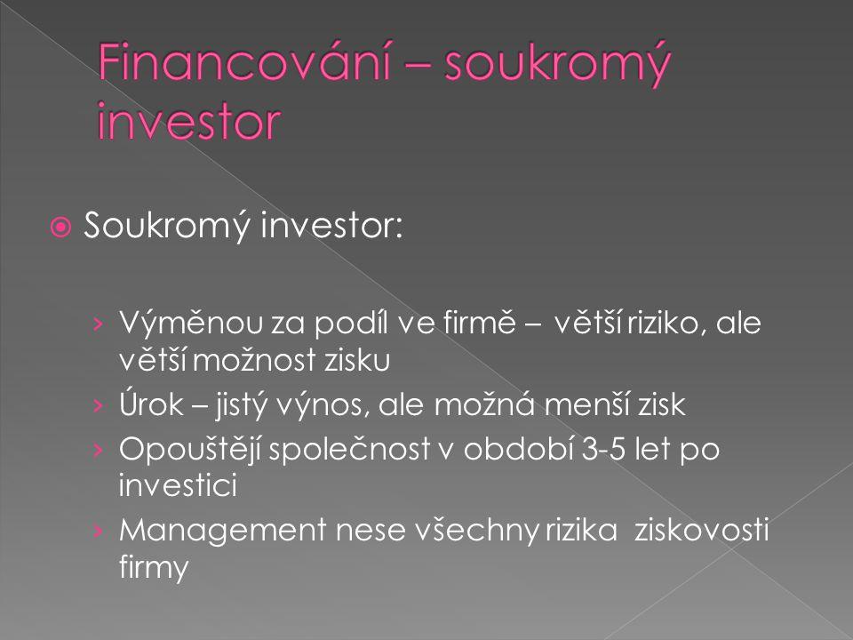  Soukromý investor: › Výměnou za podíl ve firmě – větší riziko, ale větší možnost zisku › Úrok – jistý výnos, ale možná menší zisk › Opouštějí společnost v období 3-5 let po investici › Management nese všechny rizika ziskovosti firmy