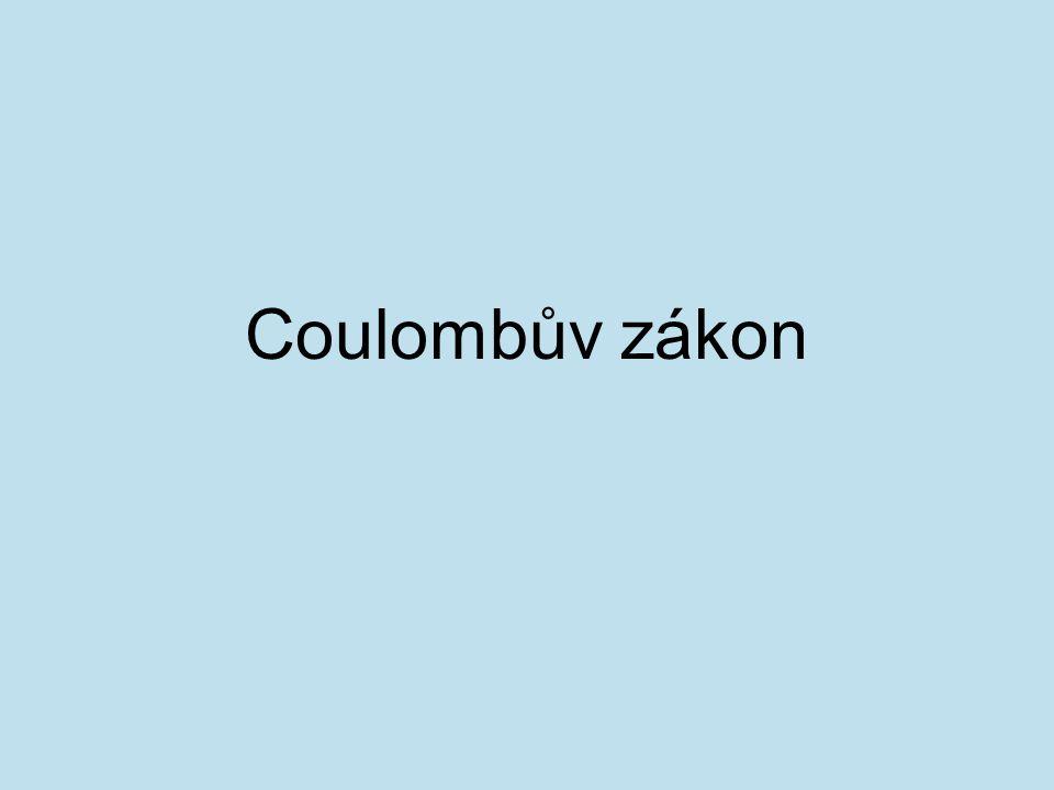 Coulombův zákon vyjadřuje vztah mezi elektrickým nábojem a elektrickou silou: Velikost elektrické síly, kterou na sebe působí dvě tělesa s elektrickým nábojem, je přímo úměrná velikosti nábojů Q 1, Q 2 a nepřímo úměrná druhé mocnině jejich vzdálenosti r.