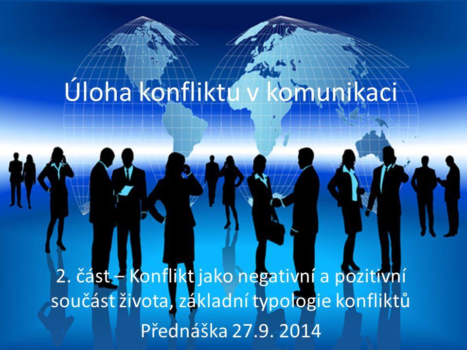 Proces mezilidské komunikace Úloha konfliktu v komunikaci 2. část – Konflikt jako negativní a pozitivní součást života, základní typologie konfliktů P