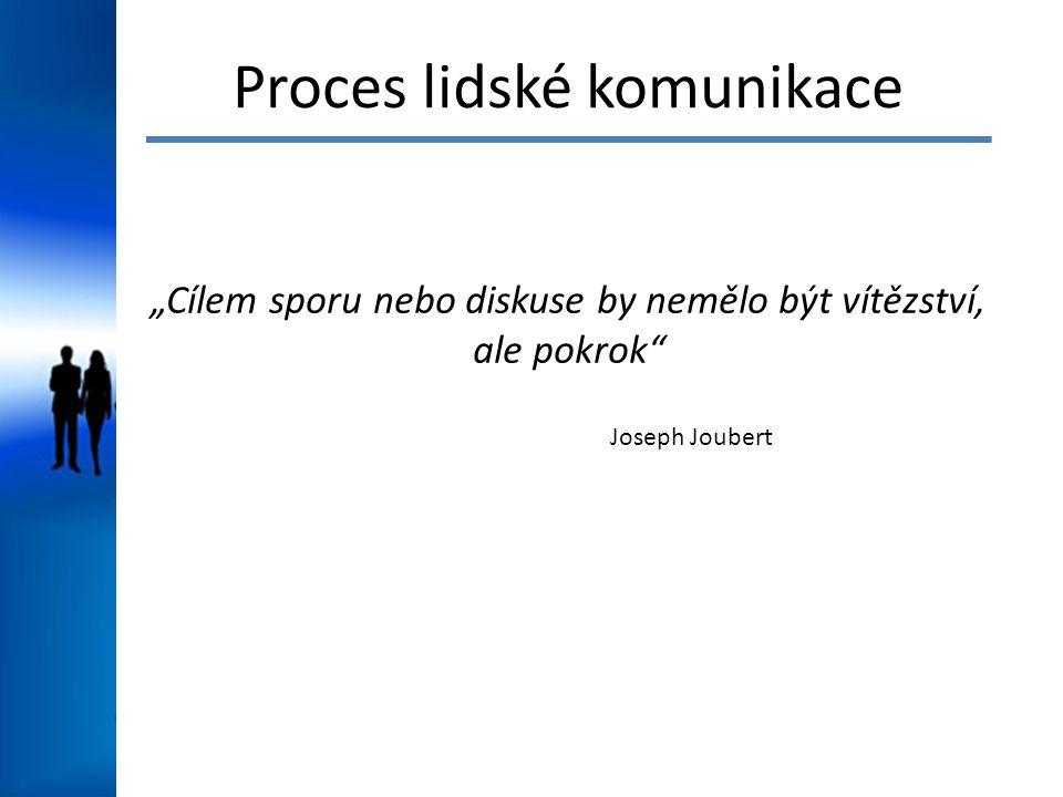 """Proces lidské komunikace """"Cílem sporu nebo diskuse by nemělo být vítězství, ale pokrok Joseph Joubert"""