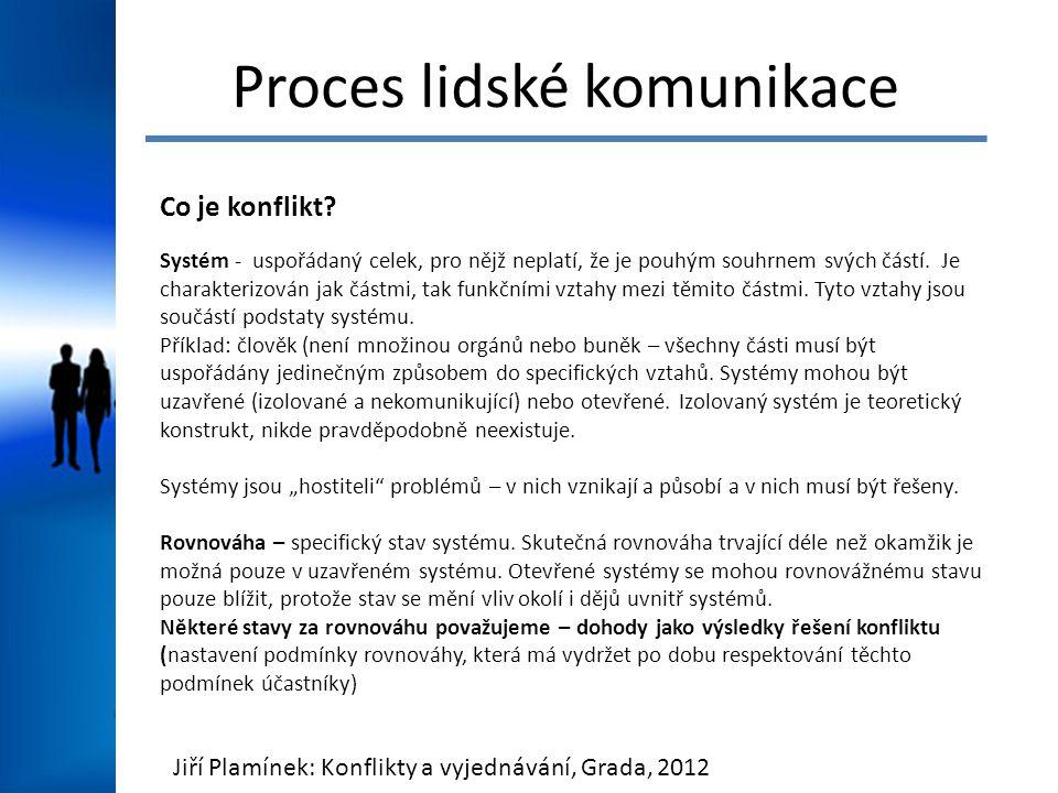 Proces lidské komunikace Co je konflikt? Systém - uspořádaný celek, pro nějž neplatí, že je pouhým souhrnem svých částí. Je charakterizován jak částmi