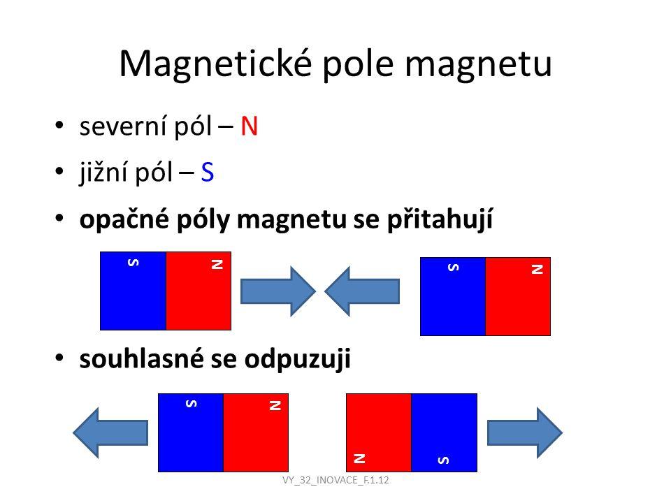 Magnetické pole magnetu severní pól – N jižní pól – S opačné póly magnetu se přitahují souhlasné se odpuzuji N S N S N S N S VY_32_INOVACE_F.1.12