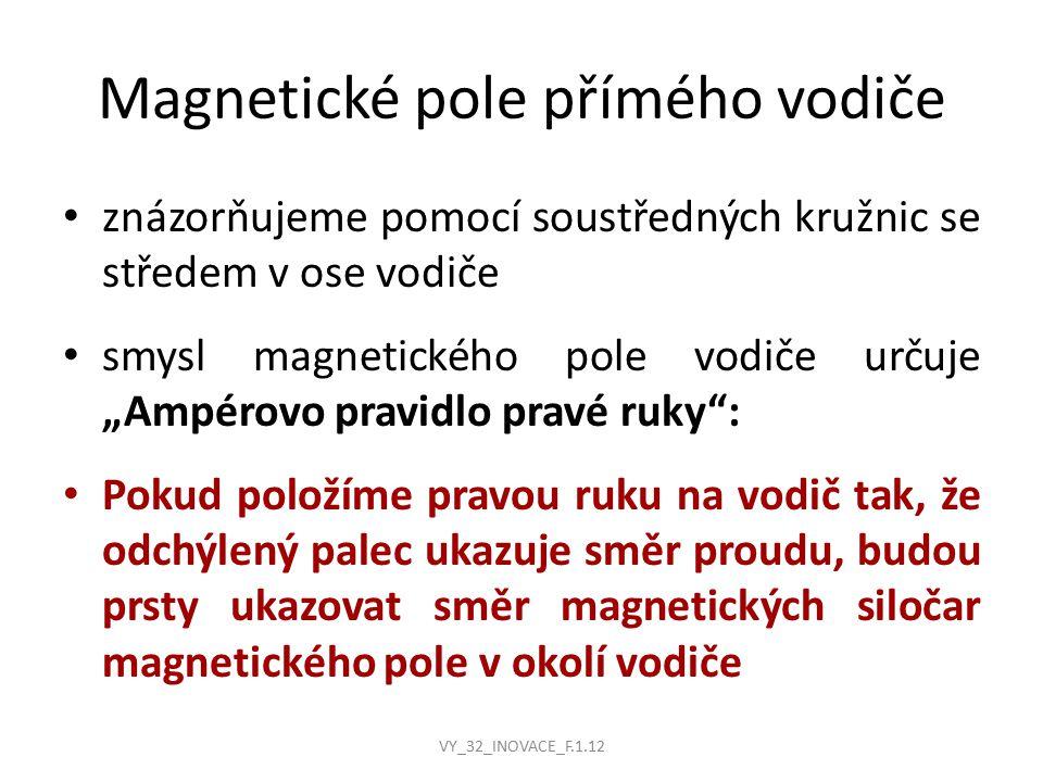 """Magnetické pole přímého vodiče znázorňujeme pomocí soustředných kružnic se středem v ose vodiče smysl magnetického pole vodiče určuje """"Ampérovo pravidlo pravé ruky : Pokud položíme pravou ruku na vodič tak, že odchýlený palec ukazuje směr proudu, budou prsty ukazovat směr magnetických siločar magnetického pole v okolí vodiče VY_32_INOVACE_F.1.12"""
