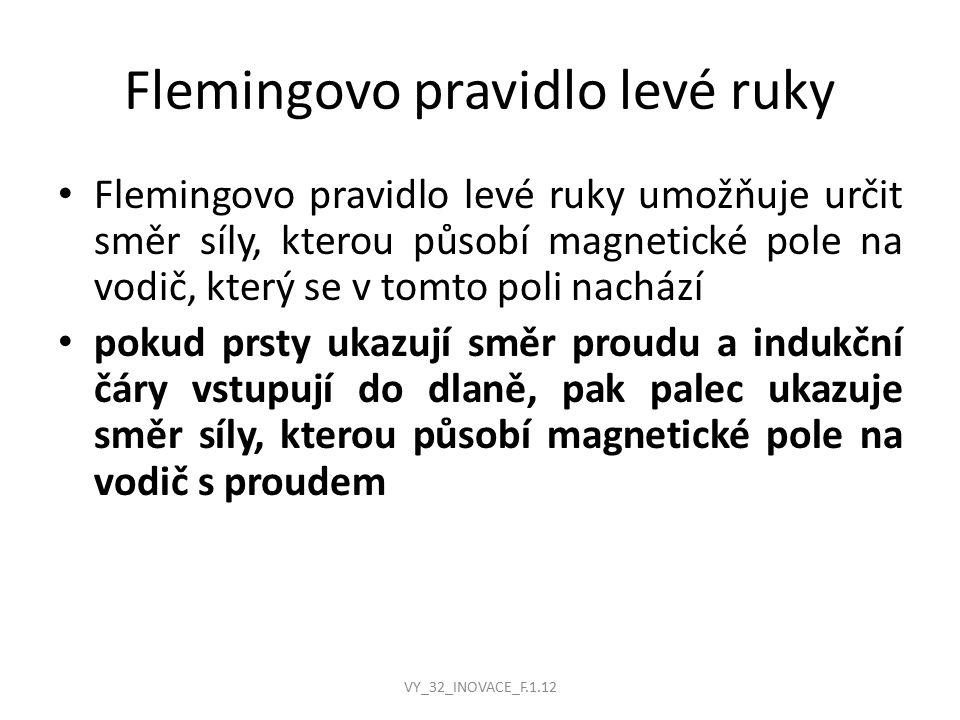 Flemingovo pravidlo levé ruky Flemingovo pravidlo levé ruky umožňuje určit směr síly, kterou působí magnetické pole na vodič, který se v tomto poli na