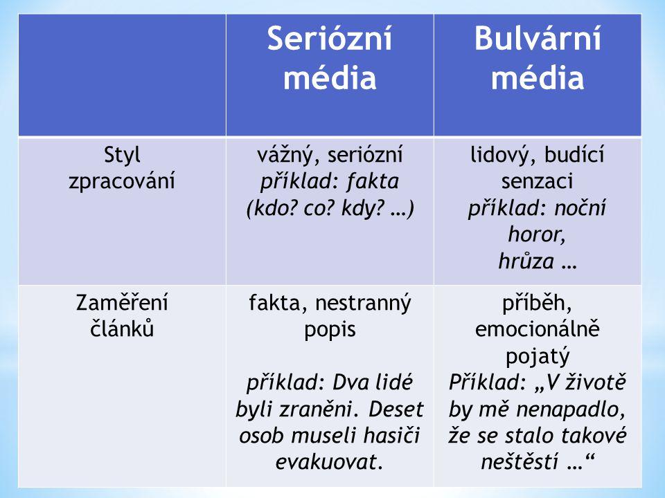 Seriózní média Bulvární média Styl zpracování vážný, seriózní příklad: fakta (kdo.