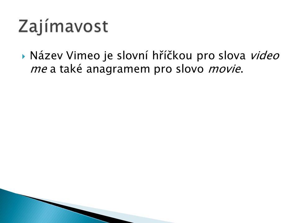  Název Vimeo je slovní hříčkou pro slova video me a také anagramem pro slovo movie.