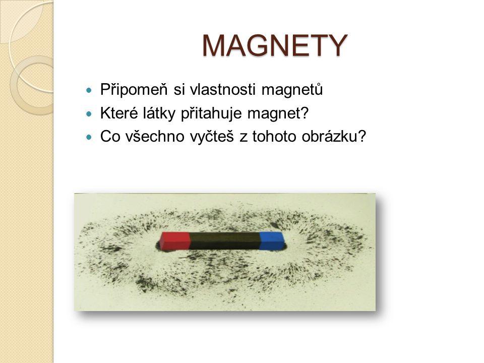 MAGNETY Připomeň si vlastnosti magnetů Které látky přitahuje magnet? Co všechno vyčteš z tohoto obrázku?