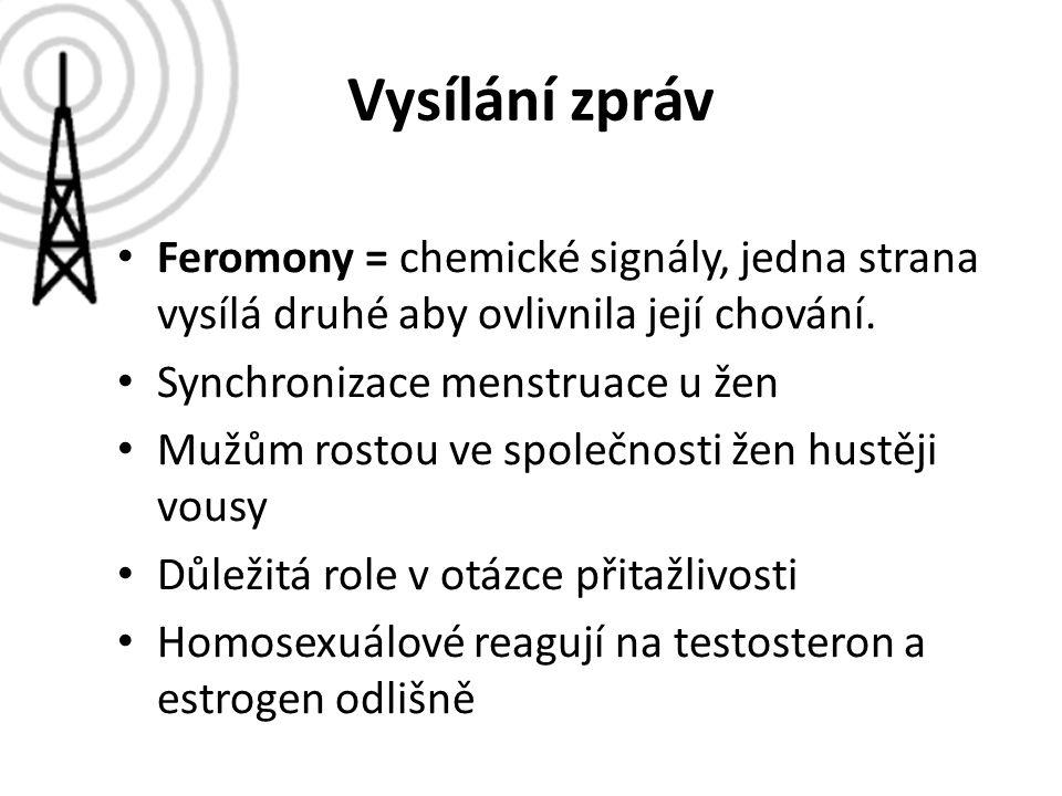 Vysílání zpráv Feromony = chemické signály, jedna strana vysílá druhé aby ovlivnila její chování. Synchronizace menstruace u žen Mužům rostou ve spole