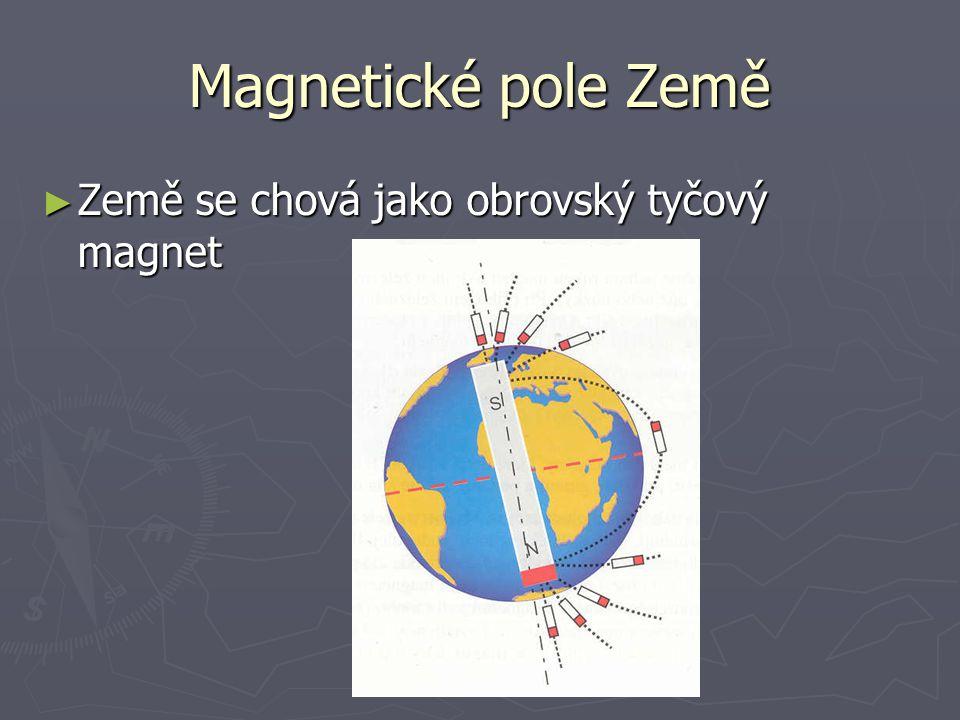 Magnetické pole Země ► Země se chová jako obrovský tyčový magnet