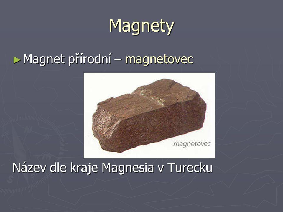 Magnety ► Magnet přírodní – magnetovec Název dle kraje Magnesia v Turecku
