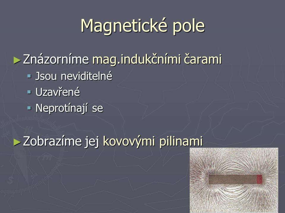 Magnetické pole ► Znázorníme mag.indukčními čarami  Jsou neviditelné  Uzavřené  Neprotínají se ► Zobrazíme jej kovovými pilinami