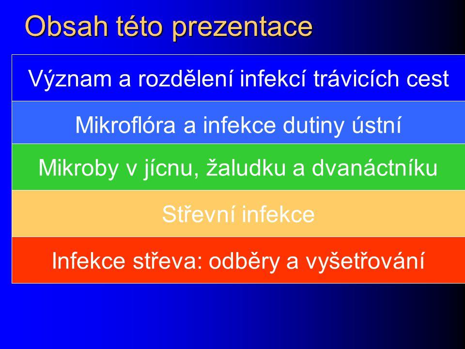 Obsah této prezentace Význam a rozdělení infekcí trávicích cest Mikroflóra a infekce dutiny ústní Mikroby v jícnu, žaludku a dvanáctníku Střevní infek