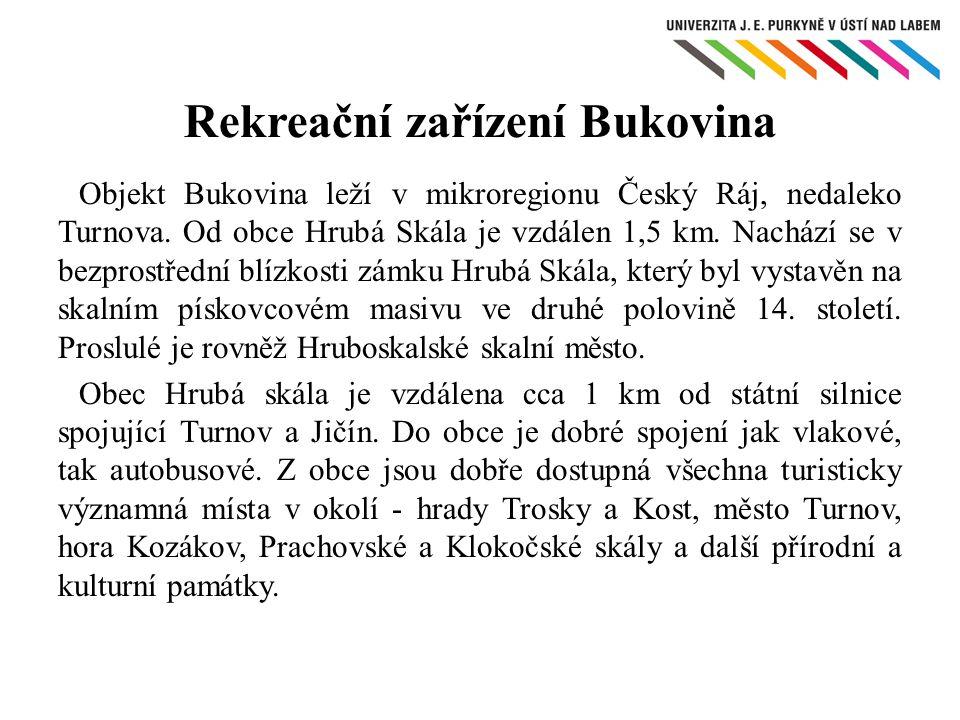 Objekt Bukovina leží v mikroregionu Český Ráj, nedaleko Turnova. Od obce Hrubá Skála je vzdálen 1,5 km. Nachází se v bezprostřední blízkosti zámku Hru