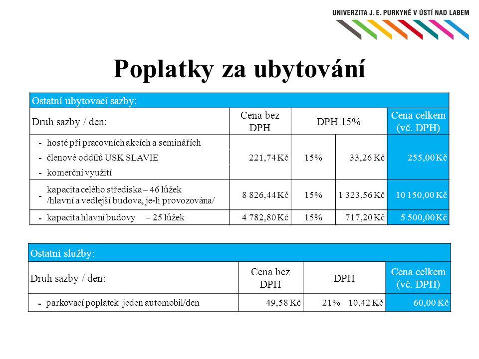 Poplatky za ubytování Ostatní ubytovací sazby: Druh sazby / den: Cena bez DPH DPH 15% Cena celkem (vč. DPH) - hosté při pracovních akcích a seminářích
