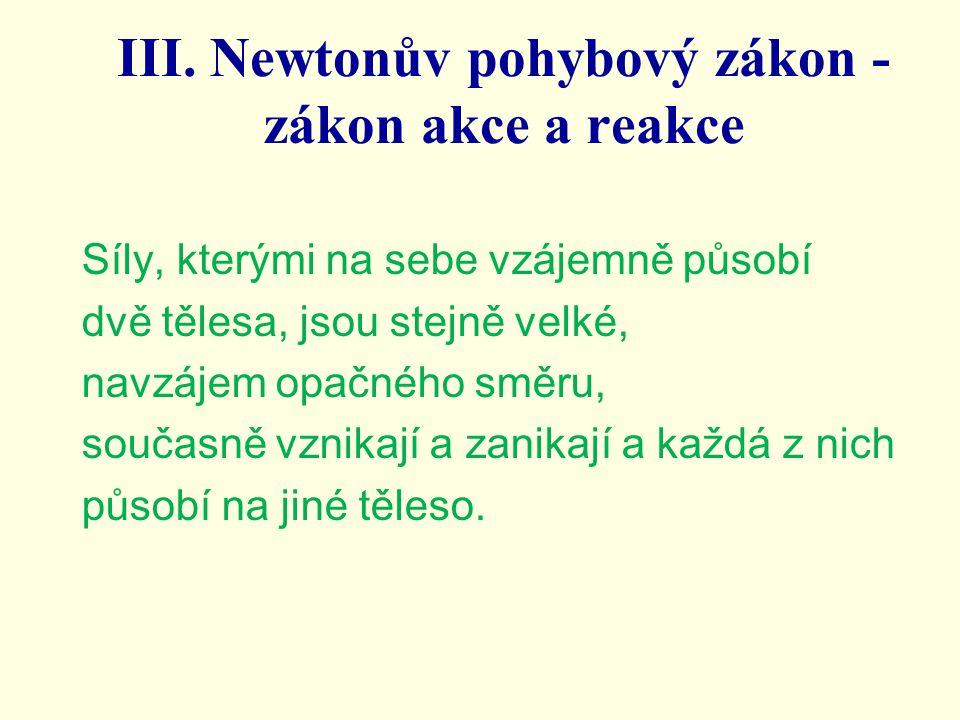 III. Newtonův pohybový zákon - zákon akce a reakce Síly, kterými na sebe vzájemně působí dvě tělesa, jsou stejně velké, navzájem opačného směru, souča