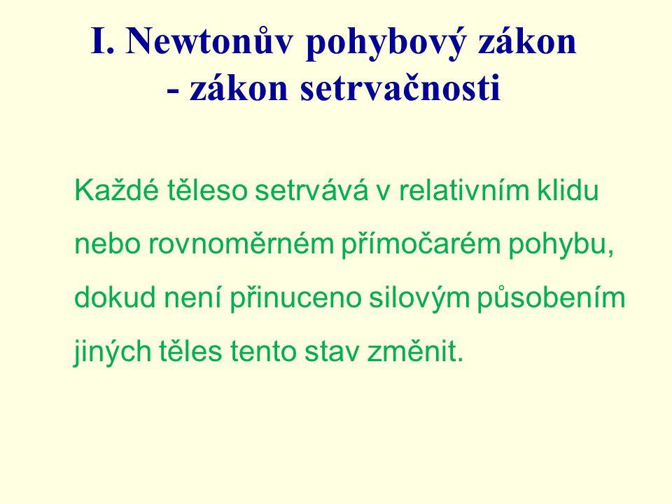 I. Newtonův pohybový zákon - zákon setrvačnosti Každé těleso setrvává v relativním klidu nebo rovnoměrném přímočarém pohybu, dokud není přinuceno silo