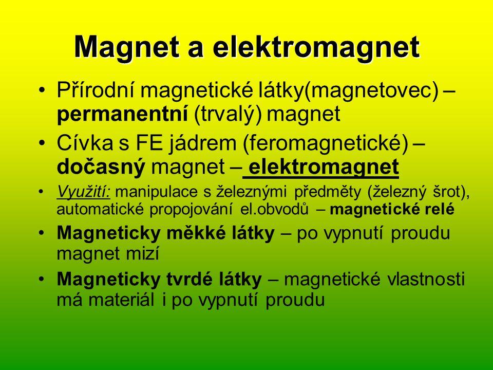 Elektromagnetická indukce M.Faraday – pohybujeme-li kolem vodiče (cívky) magnetickým polem, vzniká ve vodiči indukovaný proud.