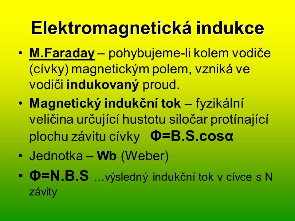 Faradayův zákon elektromagnetické indukce Při časové změně indukčního toku plochou ohraničenou závitem cívky, se v závitu indukuje elektromotorické napětí.