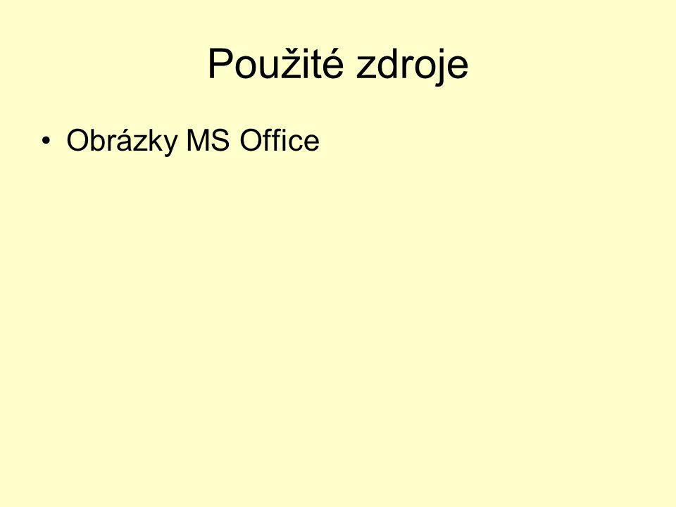 Použité zdroje Obrázky MS Office