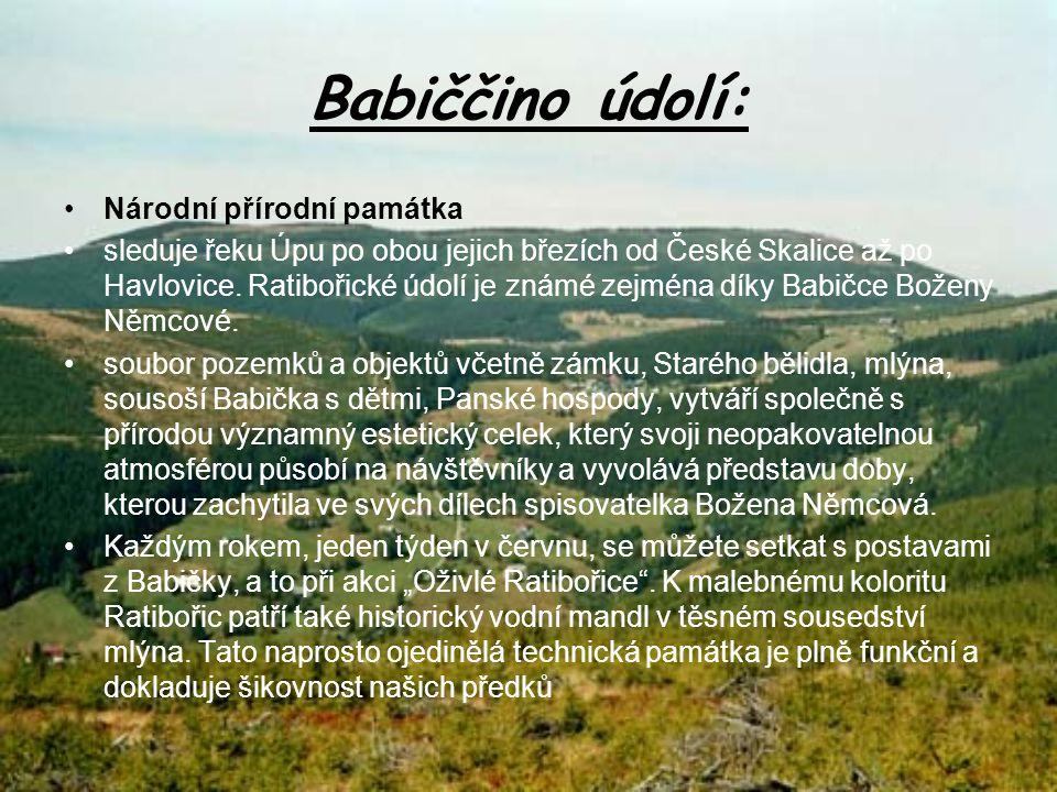 CHKO Broumovsko rozkládá se na území dvou okresů – Náchoda a Trutnova Její rozloha je 410 km čtverečních Nejznámější skalní města nalezneme v národní přírodní rezervaci Adršpašsko-teplické skály.