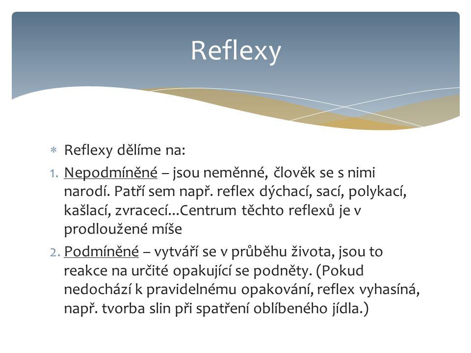  Reflexy dělíme na: 1.Nepodmíněné – jsou neměnné, člověk se s nimi narodí. Patří sem např. reflex dýchací, sací, polykací, kašlací, zvracecí...Centru