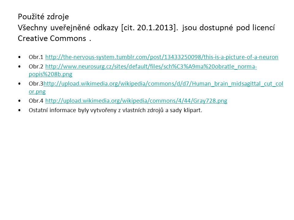 Použité zdroje Všechny uveřejněné odkazy [cit. 20.1.2013]. jsou dostupné pod licencí Creative Commons. Obr.1 http://the-nervous-system.tumblr.com/post