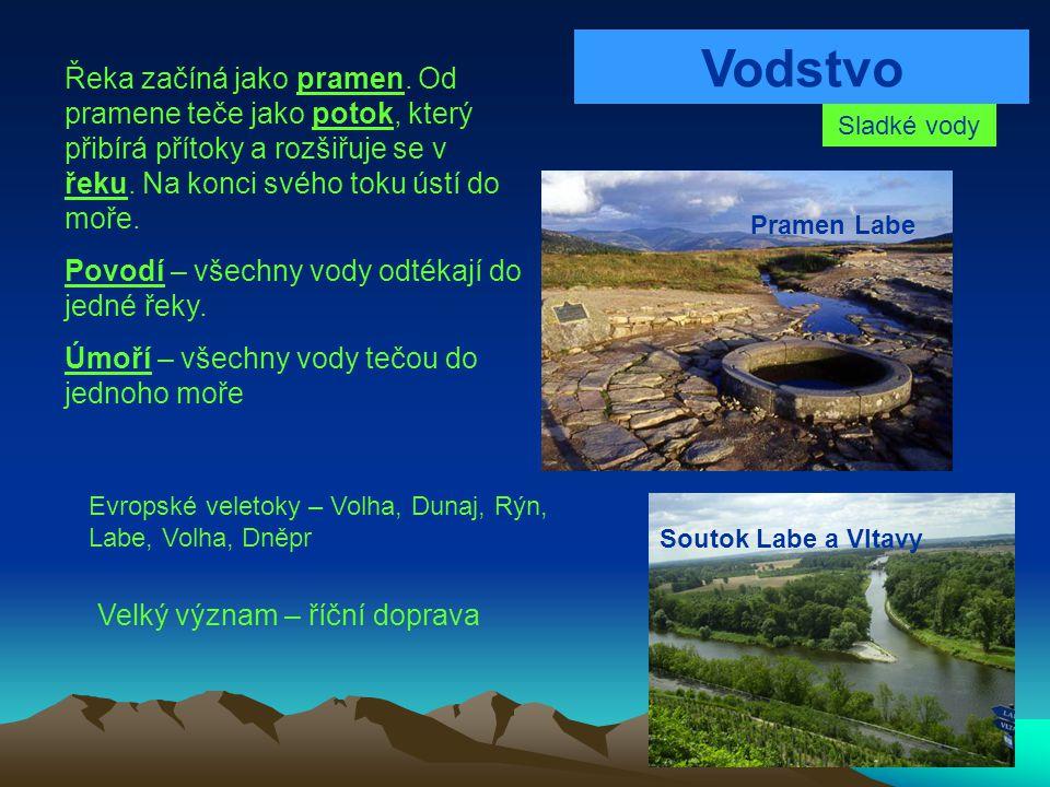 Vodstvo Sladké vody Řeka začíná jako pramen. Od pramene teče jako potok, který přibírá přítoky a rozšiřuje se v řeku. Na konci svého toku ústí do moře