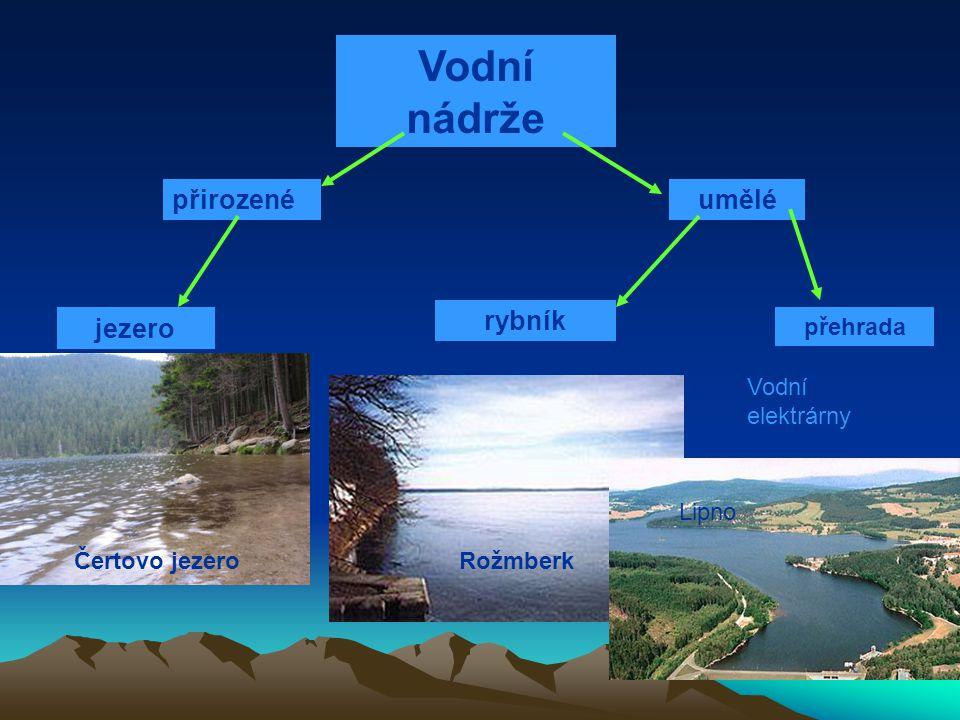 Vodní nádrže přirozenéumělé jezero rybník přehrada Čertovo jezeroRožmberk Lipno Vodní elektrárny