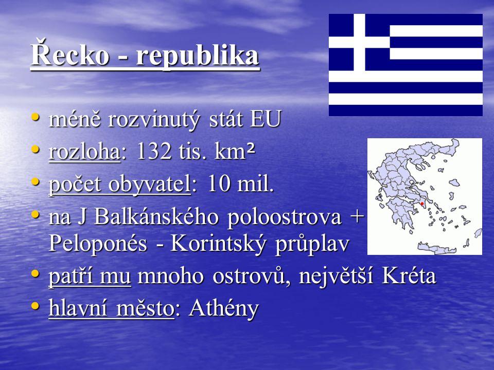 Řecko - republika méně rozvinutý stát EU méně rozvinutý stát EU rozloha: 132 tis. km ² rozloha: 132 tis. km ² počet obyvatel: 10 mil. počet obyvatel: