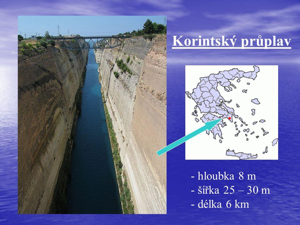 Korintský průplav - hloubka 8 m - šířka 25 – 30 m - délka 6 km
