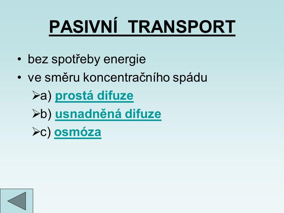 PASIVNÍ TRANSPORT bez spotřeby energie ve směru koncentračního spádu  a) prostá difuzeprostá difuze  b) usnadněná difuzeusnadněná difuze  c) osmóza