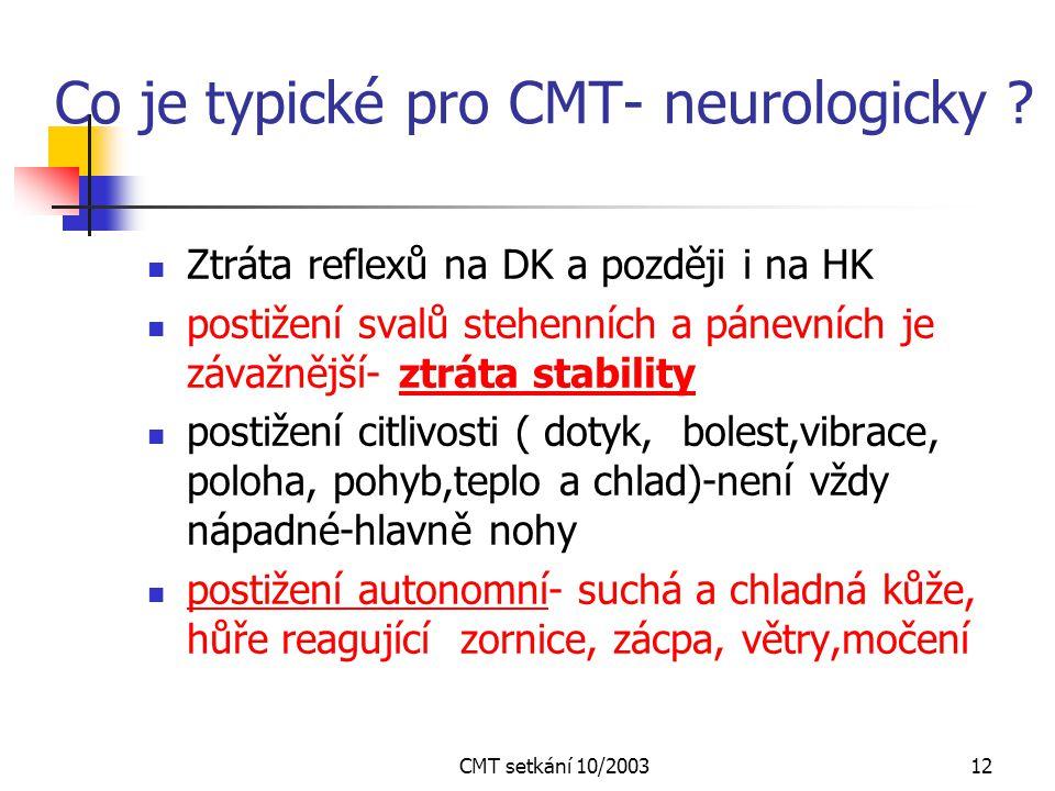 CMT setkání 10/200311 Projevy a jejich tíže může být různá u pacientů se stejnou mutací a ve stejné rodině