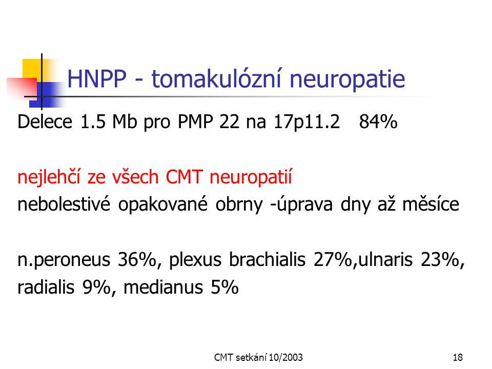 CMT setkání 10/200317 CMT 1X X vázaná forma - CMT1X - Xq13 – 221 mutací 10% všech hereditárních myelinopatií Neexistuje přenos mezi muži Muži postižen
