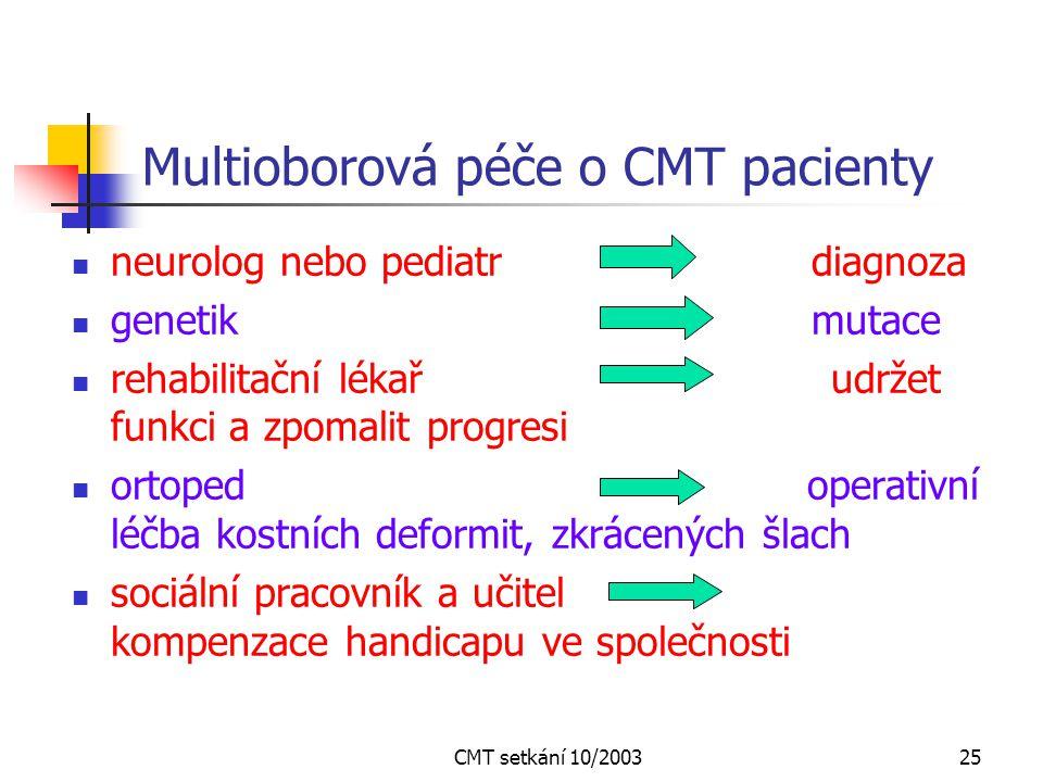 CMT setkání 10/200324 Léčba C-M-T neuropatií ? Základní léčba nemocného genu neexistuje pomáhat však můžeme Cílem je co nejdéle udržet : užitečný pohy