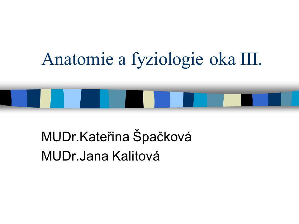 Anatomie a fyziologie oka III. MUDr.Kateřina Špačková MUDr.Jana Kalitová