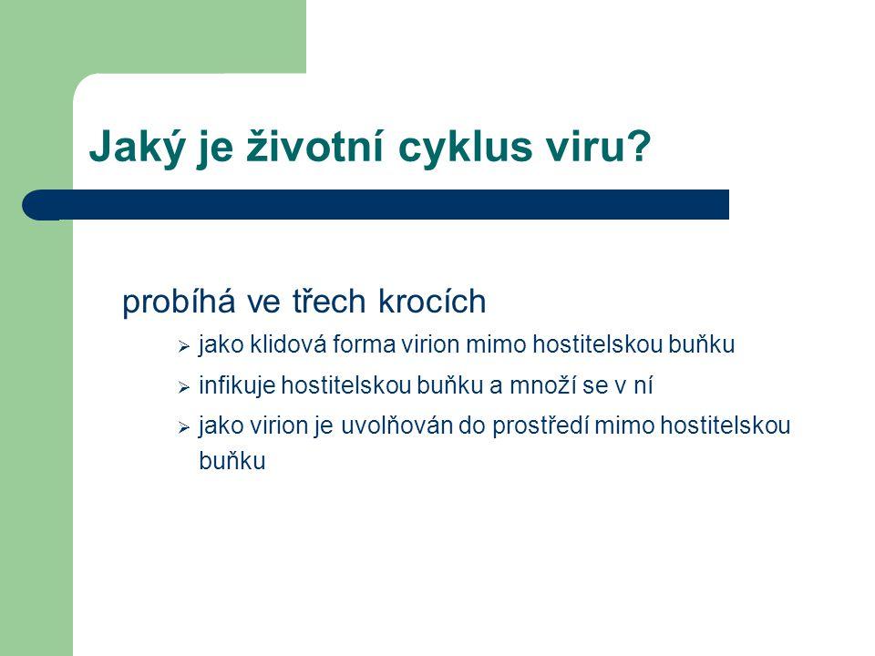 Jaký je životní cyklus viru? probíhá ve třech krocích  jako klidová forma virion mimo hostitelskou buňku  infikuje hostitelskou buňku a množí se v n