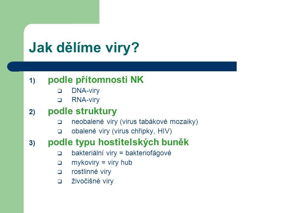 Jak dělíme viry? 1) podle přítomnosti NK  DNA-viry  RNA-viry 2) podle struktury  neobalené viry (virus tabákové mozaiky)  obalené viry (virus chři