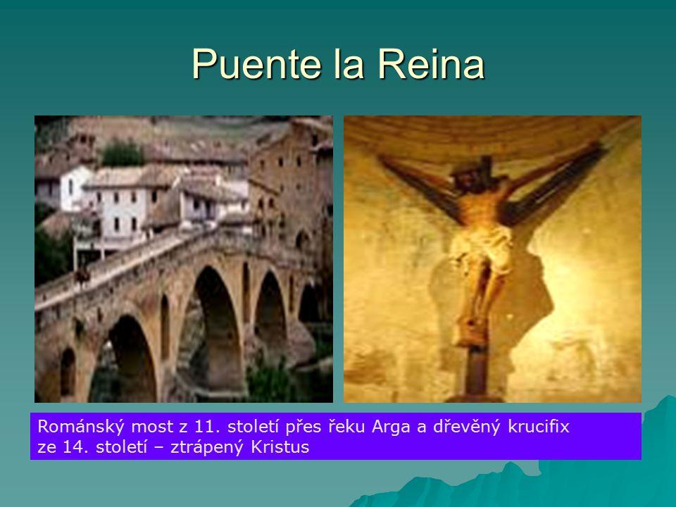 Puente la Reina Románský most z 11.století přes řeku Arga a dřevěný krucifix ze 14.