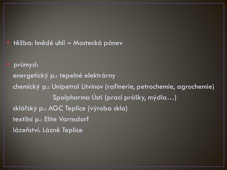 těžba: hnědé uhlí – Mostecká pánev průmysl: energetický p.: tepelné elektrárny chemický p.: Unipetrol Litvínov (rafinerie, petrochemie, agrochemie) Sp