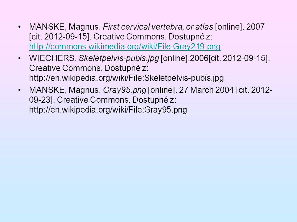 MANSKE, Magnus. First cervical vertebra, or atlas [online]. 2007 [cit. 2012-09-15]. Creative Commons. Dostupné z: http://commons.wikimedia.org/wiki/Fi