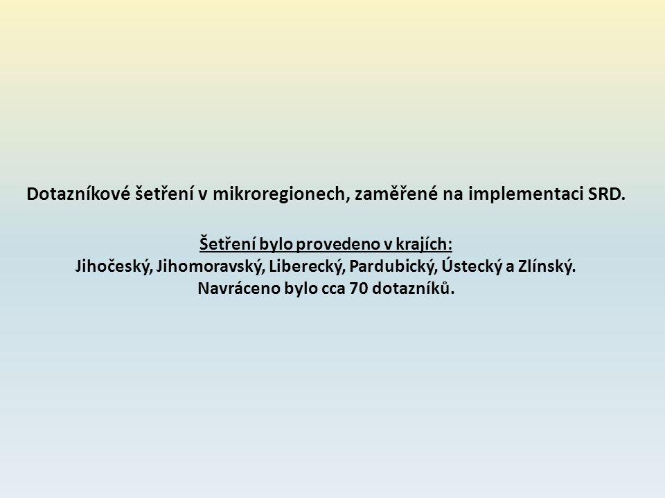 Dotazníkové šetření v mikroregionech, zaměřené na implementaci SRD. Šetření bylo provedeno v krajích: Jihočeský, Jihomoravský, Liberecký, Pardubický,